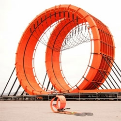 "Anyone at Dwell On Design can see this ""Hot Wheels Double Loop Dare"" for the X-Games across the street! It is modeled after the new Double Dare Snare Hot Wheels toy!"