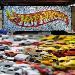 Jellio ~ Hot Wheels Custom!  for a client to be a Christmas gift for her car enthusiast husband, this wall display is 9 ft by 4 ft, weighs about 400 pounds, and is made  up of 4,400 actual Hot Wheels.