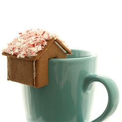 Not Martha makes brilliant little gingerbread houses to perch on the side of your mug!!!