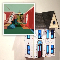 """Room for Rent"" by Mike Ellis - An experiential installation using multicoloured LEDs the illustrations come to life within the house, exposing things that may not be seen under normal circumstances."