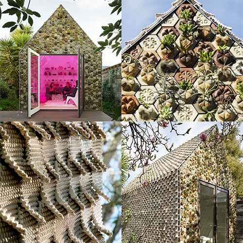 Emerging Objects' Cabin of Curiosities in Oakland is covered in over 4,500 3D printed tiles! Planter tiles on the front make up a living wall of succulents, and the roof and sides are covered in Seed Stitch tiles.