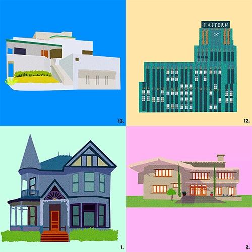 "Curbed LA ""An illustrated guide to Los Angeles architecture: Get to know LA's signature styles, from Craftsman to Googie"" Illustrations by Monica Ahanonu."