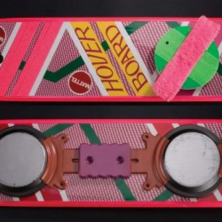 "Up for auction August 1st at 11:00 PDT is one of the hero Mattel Hoverboards used by Michael J. Fox in his most famous role as ""Marty McFly"" in the Robert Zemeckis classic 80s trilogy, Back to the Future."