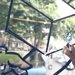 The Hoxton Window project, a collaboration between unit9 and visual artists, invited to use the windows overlooking Hoxton Square.