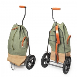 Hack-enflitzer is not your typical granny trolley. The classy combination of a vintage Swiss army backpack and a high quality steel frame looks bold and beautiful. Carry your groceries in style.