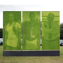 This HSBC ad at Wimbledon uses images actually grown in grass - the natural photosensitive properties of the grass reproduce the images like photographic paper.