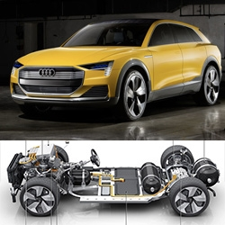 "Audi h-tron Quattro Concept - hydrogen fuel cell powered SUV concept that can take ""only about four minutes to fill the tank, giving the car a range of up to 600 kilometers (372.8 mi)"" Also laser and OLED lighting."