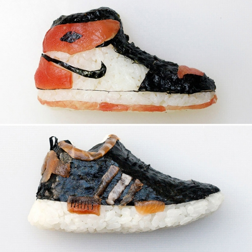 "Milan-based chef and artist Yujia Hu makes sushi in the form of miniature athletic footwear, otherwise known as ""Shoe-shi""!"