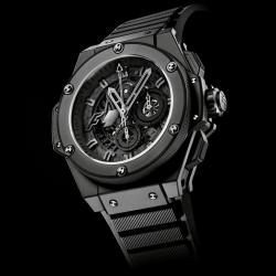 Swiss watchmakers Hublot's F1 King. The watch is based on the King Power model, with everything blacked out for a sleek, matte look. Only 500 numbered items will be on offer before Hublot unveils its next Formula 1 edition.