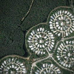 Human landscapes in SW Florida is a collection of Google satellite images/photos of residential developments in Florida. Quite a variety of man-made patterns.