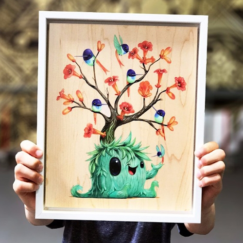 Nectar by Cuddly Rigor Mortis. Adorable hummingbirds hanging out on the green creature in this print on wood.