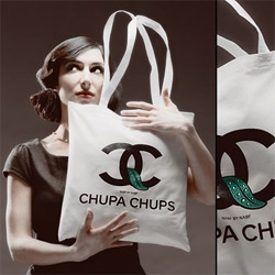 """Nabf's (No Art But Fun) Chupanel ~ (Chupa Chups meet Chanel) limited edition tote - """"this tote bag and all its presentation is a non commercial art project."""""""