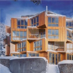 The Huski Apartment Hotel building at the Falls Creek ski resort in Australia.  Designed by Elenberg Fraser Architects.