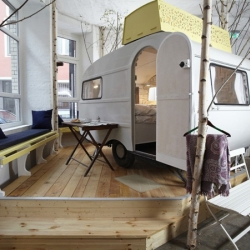 The Hüttenpalast in Berlin is a new hotel concept, created by Silke Lorenzen and Sarah Vollmer. Consisting of a cluster of renovated campsite caravans, each available to stay in for the night.