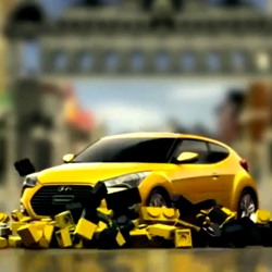 Hyundai makes a stop motion Lego racing video for the Veloster Turbo in Asphalt 7: Heat game for iOS.