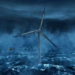 HyWind, the first floating windmills. It has obvious advantages, such as reduced visual impact and increased power production due to the good wind conditions.