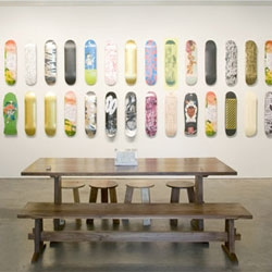 Chelsea's I-20 Gallery is currently having a stint as a skate shop during MAKE SKATEBOARDS, a group exhibition of artist-designed ephemera with a Dogtown twist.