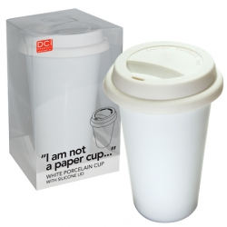 """I Am Not A Papercup"" ~ Double walled porcelain cup with silicone top. eco-friendly and reusable. dishwasher safe. by Decor Craft Inc."
