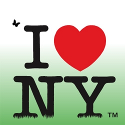"That's one of the new ""I love NY"" logos announced by Governor Paterson. The plan is to increase tourism from 155 million visitors in 2006 to 200 million by 2020."