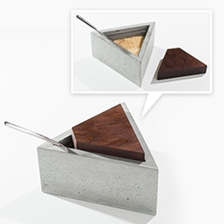 INSEK Design Triangle Concrete/Wood Sugar Box - love the way the triangle is cut out for the spoon handle! Comes in a few wood options.