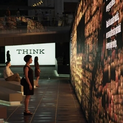 The THINK exhibit by IBM combines unique experiences to engage visitors in a conversation about how we can improve the way we live and work through interactive data.