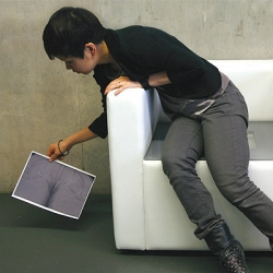 i-Bum automatically scans a persons bottom and prints out the image when they site down. By Tomomi Sayuda @ KithKin Presents 09
