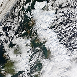 The University of Dundee's satellite receiving station captured this image of how the heavy snow of the past week has affected the UK.