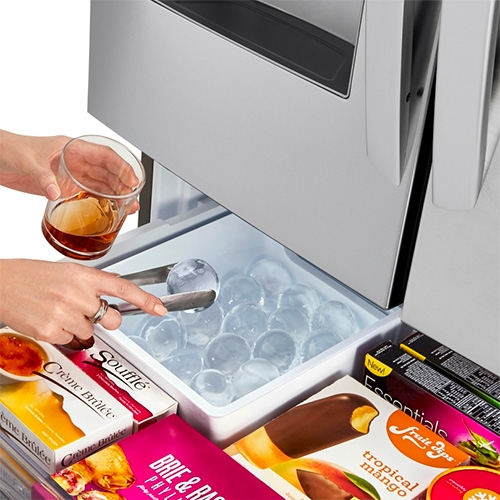 A fridge with built in ICE BALL maker... LG Smart wi-fi Enabled InstaView Door-in-Door Refrigerator with Craft Ice Maker.