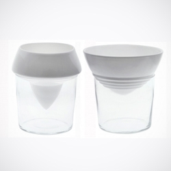 'Iceberg' by Reiko Kaneko. Fill the glass with ice to keep the contents of the porcelain cup chilled without diluting it.