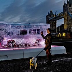 Sculpted with Japanese Samurai chisels in a traditional tattoo design, this 2.4m x 2.6m block of ice, designed by celebrity tattooist Henry Hate, houses a Nissan Cube on London's South Bank....