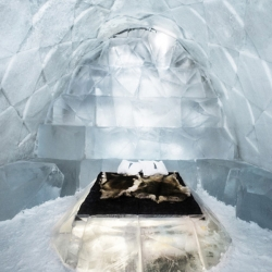 Sweden's Ice Hotel enlists French artist and designer Antoine Weygand and architect Roland Toupet to design and build room 339, also known as 'Diamond Genesis'.