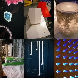 """""""Some highlights so far, clockwise from left; Mike and Maaike's pixelated leather jewelry, BluDot's flatpack bent metal chair, Tord Boontje's lamps for Artecnica..."""""""