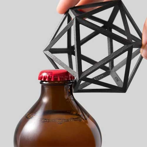 Limited edition Ico Bottle Opener in 3D Printed Matte Black Steel by Othr.