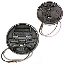 ICON has FJ and BR Pewter Key Fobs with a wire cable to look like a winch... lizard logo on the back!