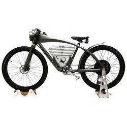ICON unveils their new E-Flyer Electric Bike made from hydro-formed aluminum. It has a 35mi range and can reach speeds up to 36mph.