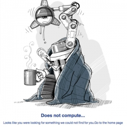 Iconfinder 404 error page! Awesome sad robot guy.