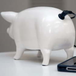 I.D.E.A. makes adorable pig speakers that have a speaker on their bellies and an audio jacket at their tails.