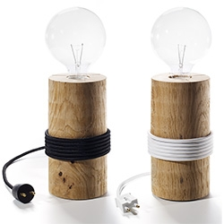 The Oak Men Log Lights - Oak pole, cord with