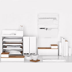 IKEA's KVISSLE Series has nice white/wood desk accessories ~ from magazine rack and letter organizer to whiteboard, bookends and more!