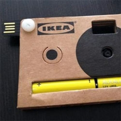 IKEA cardboard/usb camera with 40 digital pictures and two AA batteries! Fun IKEA press kit during Milan Salone 2012.