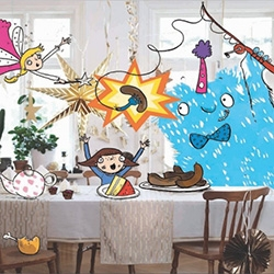 Sarah Horne - IKEA's Children's Illustrator in Residence! From drawings superimposed over IKEA catalog graphics, IKEA brings her on to inspire kids in store!