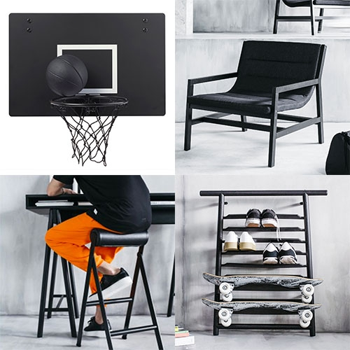 IKEA SPÄNST Collection by Chris Stamp and Maja Ganszyniec. A streetwear inspired black and white collection including a basketball hoop, skateboard and sneaker rack, desk, clear sneaker boxes and more...