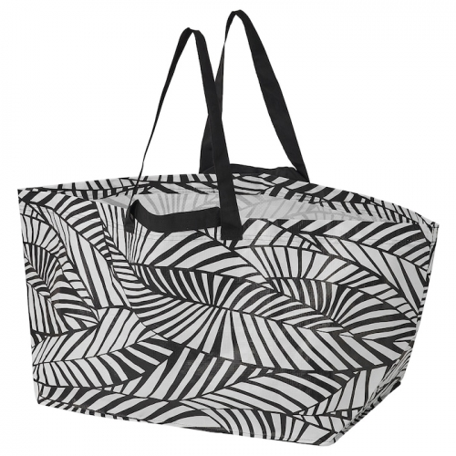 IKEA Slukis - our favorite do everything double handled IKEA bag in black and white (leafy!) pattern for $2. Also in umbrella form and other bag shapes.