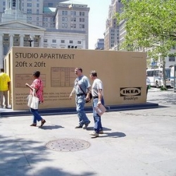 IKEA has converted the cardboard box  into a street showroom. Spectacular.