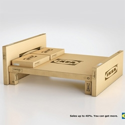 IKEA launches new marketing campaign for its annual sale, transforming its iconic flatpack boxes into home furnishing.