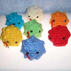 Le Petit Bijou Boutique brings cute amigurumi style crocheted HIV viruses. $3.00 for every sale goes to a non-profit that provides clean water and blood to the Africa crisis