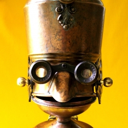 reclaim 2 fame uses old metal pots and other cool stuff in their whimsical robot sculptures.
