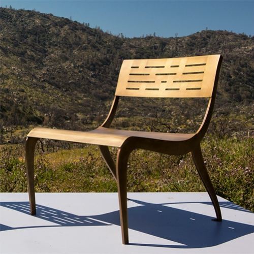 Ilan Dei Venice's California Gold Collection Inyo Chair Limited Edition, elegant bronze plated steel lounge chair inspired by trips to the Inyo area, home to the highest and lowest points of CA.