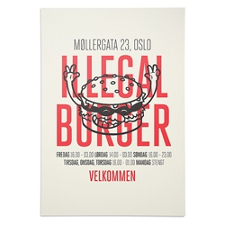 Cute packaging for Illegal Burger by the Metric System with illustrations by Frode Skaren.