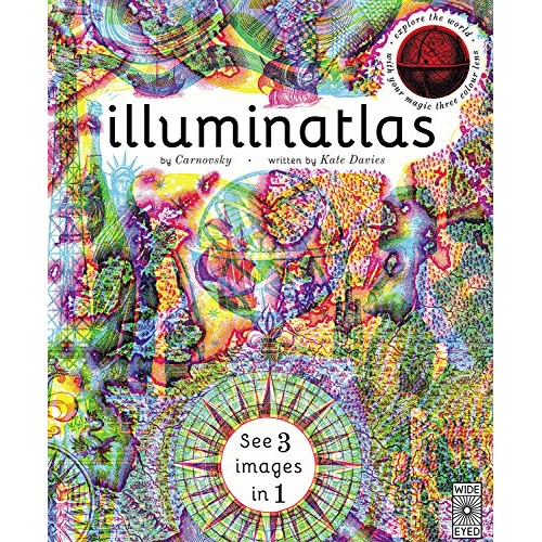 Illuminatlas is the latest from our friends Carnovsky! Following Illuminature and Illumanatomy, there are three images in one for every page that come to life with the special colored glasses!